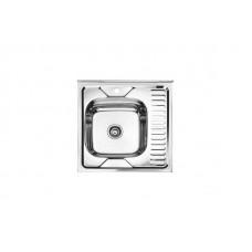 Мойка Ledeme накладная L96060-6 L 600*600*170 левая 0,6 мм полированная с сифоном выпуск 3 1/2