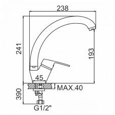 Смеситель Ledeme 4116  кухня шаровый боковая ручка латунь  D 40