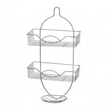 Полка в ванну метал Е0018 подвесная 2-х ярусная с мыльницей (МОК)