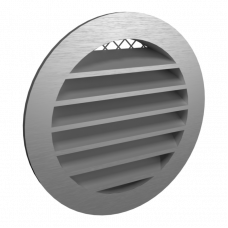 10РКН Серая Решетка наружная вентиляционная круглая  с фланцем D100