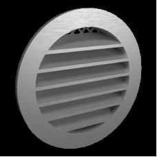 12РКН Серая Решетка наружная вентиляционная круглая  с фланцем D125