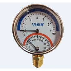 Термоманометр верт.(снизу)1/2 120С 6 БАР VIEIR YE6