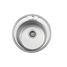 6490-1Р Мойка врезная SINKLIGHT N490 ECO 0,6 мм /160 полированая с сифоном выпуск 3 1/2